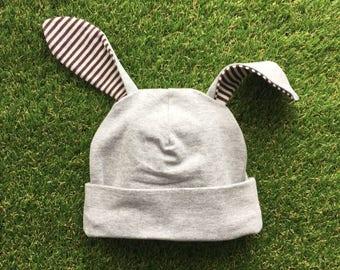 Gray Bunny Hat - Bunny Hat for Baby - Easter Bunny Hat - Toddler Bunny Hat - Easter Hat - Bunny Ears - Baby Bunny Hat - Grey Rabbit Hat