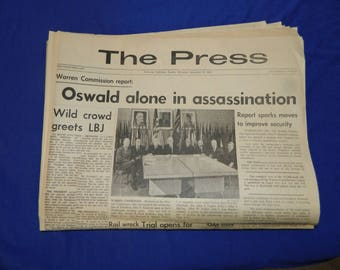 Kennedy Assassination 9 - 28 - 64 Oswald - Warren Commission Report - The Press Riverside Newspaper