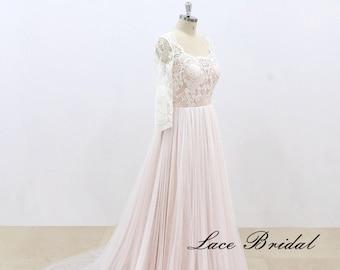 Lace Wedding Dress with Beadings, Bohemian Wedding Dress, Long Sleeve Dress, Sheer Back Bridal Gown, Vintage Wedding Dress