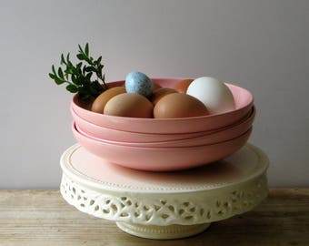 Vintage Pink Melmac Melamine Dinnerware Beverly by Prolon #7404 Shallow Bowls, Set of 4 Retro Kitchen Picnic RV Camper Dishes