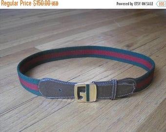 25% SALE GUCCI vintage canvas & leather belt / Gucci belt signature web G buckle