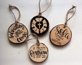 FREE SHIPPING • Reformation Wood Slice Ornaments • Lutheran • Christmas • Rustic • Martin Luther • A Mighty Fortress is Our God • Gift