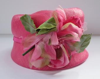VINTAGE WOMEN'S HAT, Pink hat, Vintage fashion, Flowers, Braided hat, Straw hat, Summer hat, Costume accessory, Hat box, Wedding