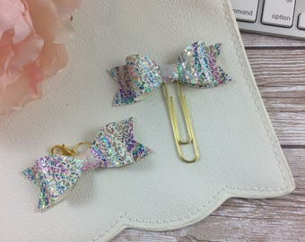 Faux Leather Holographic Planner Clip or Charm // Planner Accessories // Planner Accessory // Bookmark