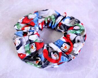 Christmas Penguin Hair Scrunchie 100% Cotton