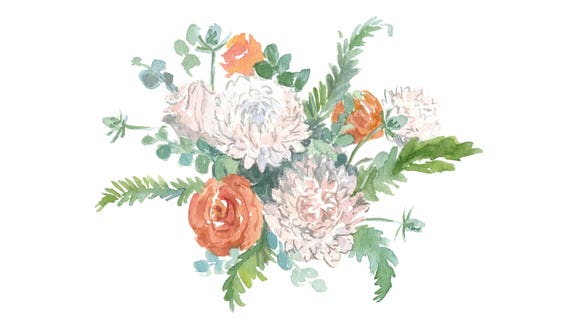 Original 8x10 Watercolor Fall Flowers Painting