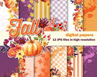 Fall Digital Hand Painted Watercolor Scrapbook Papers, Autumn flowers and pumpkins.