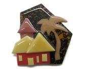 Lucinda Yates Pin, Vintage House Pin, Tropical House Brooch, Palm Tree House Pin, Housewarming Gift, Wedding Gift