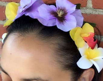 Floral Crown headband. Floral Headband. Hawaiian Headband. Hawaiian crown. Floral Crown. Pink? or Purple?