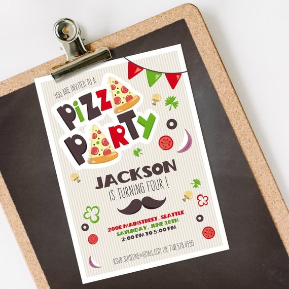 Pizza Party Invitation INSTANT DOWNLOAD