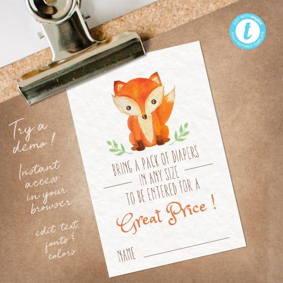 Fox Diaper Raffle Insert, Fox Diaper Raffle Tickets, Fox Diaper Game Card, editable INSTANT DOWNLOAD printable at home