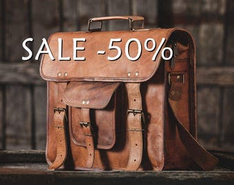 "SALE / Leather Messenger Bag 15""  / Air Plane Cabin Bag / Briefcase / Handbag / Satchel / Shoulder Bag / iPad / Hip Bag"