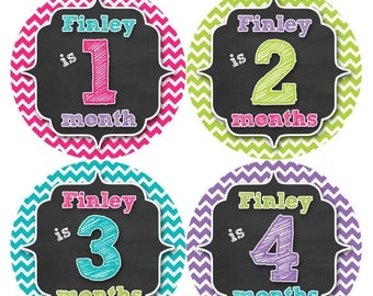 PERSONALIZED Baby Girl Month Stickers Monthly 12 Month Sticker Monthly Baby Stickers Baby Shower Gift Photo Prop Milestone Sticker 495