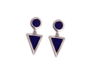 """Earrings graphic triangle """"Pendulum"""" Silver Sterling and Blue lizard."""