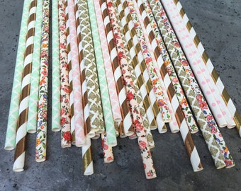 24 flower floral GarDen Tea party paper Straws girl Themed birthday party baby bridal shower Straws decorations Pink mint gold boho