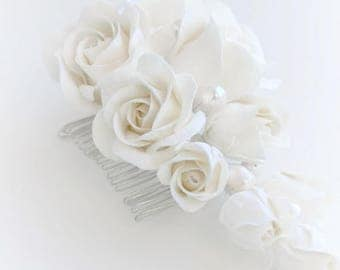 Ivory Rose Wedding Flower comb Wedding Hair flower Bridal flower headpiece  Bridal flower comb Rose Hair clip