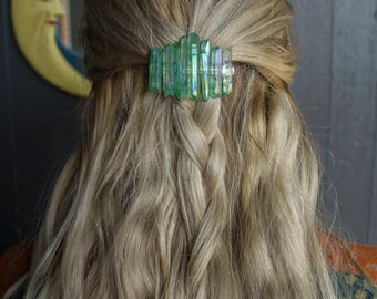 Crystal Barrette / Seafoam Titanium Quartz / Raw Crystal Crown/Quartz Hair Jewelry / Crystal Hair Clip / Bridal Crystal Crown / Festival