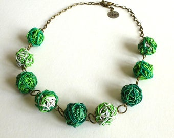 Upcycled jewelry. Recycled electric cables jewellery. Recycled green necklace SHANGHAI