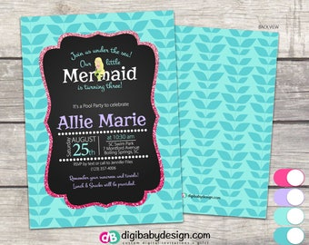 Mermaid Birthday Party Invitation, chalkboard in teal seagrass, pink and purple, Custom digital printable