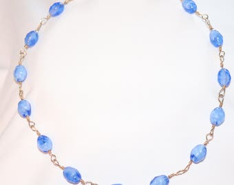 Blue Glass Beads in Hand-Chained 14k Gold-Filled Wire Necklace