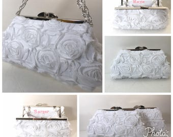 Flower girl Clutch purse, flower girl basket, chiffon rosette, Lace Overlay Clutch Purse, Special Occasion, Bridal, Wedding, Clutch Purse,