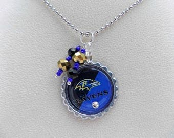 Purple and Black Ravens Necklace, Baltimore Ravens Jewelry, Ravens Necklace, Ravens Accessories, Sports Jewelry, Football Jewelry, Ravens