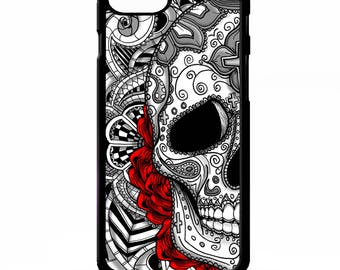 Day of the dead sugar candy skeleton skull tattoo graphic rose pattern cover for iphone 4 4s 5 5s 5c 6 6s 7 plus SE phone case