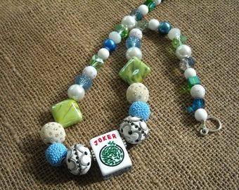 Mahjong Necklace - Blue and Green Mahjong  - Mahjong Gift - Jesse James Beads -Gift Idea -  Mah jong Jewelry - Mahjong Tile