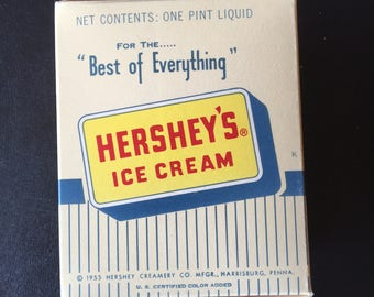 Vintage 1955  Hershey's One-Pint Ice Cream Container.