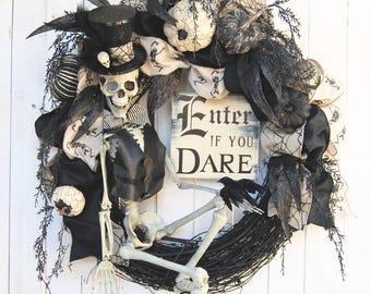 "AVAIL JULY 2018  28"" Halloween wreath, Steampunk Skeleton Halloween Wreath, Enter if you Dare, Skeleton Wreath, Halloween Decoration"