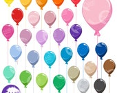 Balloon clipart, Birthday clipart, Party Balloons, Birthday party clipart, Commercial use, AMB-1197