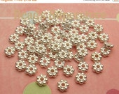 SALE FINAL SALE 4.5 mm x 2 mm Silver-Plated Alloy Daisy Spacer - Nickel Free, Lead Free and Cadmium Free - 100 pcs