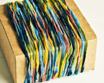 Mesh Shimmer Ribbon Twine in Rainbow & Silver - 6 Yards - Blue Pink Yellow Green Garland Pretty Packaging Gift Wrapping Wedding Party Decor