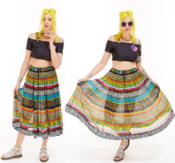 Vtg 90s INDIA COTTON Broomstick SKIRT Maxi Gauze Hippie Boho Gypsy southwestern Tribal Psychedelic Resort Festival Sweep Grunge Semi Sheer