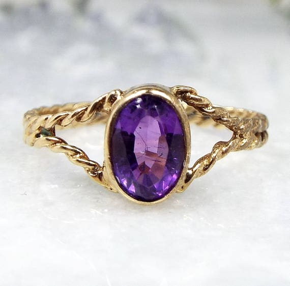 Vintage 1987 / 9ct Yellow Gold Beautiful Twisted Rope Amethyst Ring / Size O