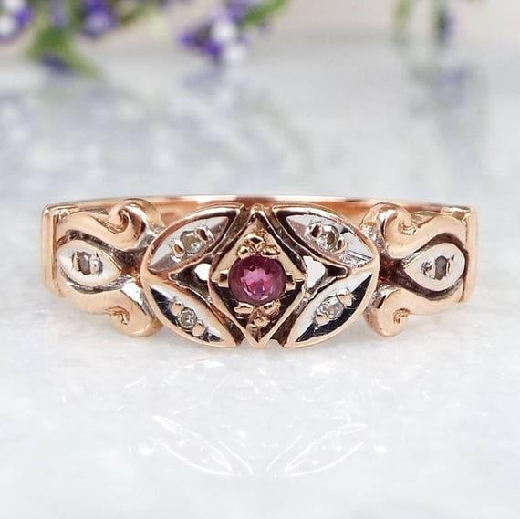 Vintage Victorian Style 9ct Rose Gold Ornate Ruby and Diamond Band Ring / Size O