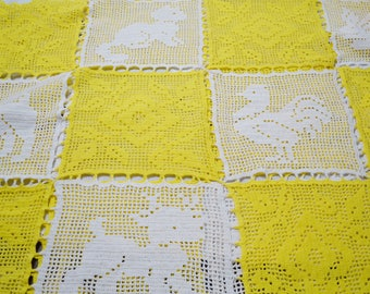Vintage Crochet Bedspread Nursery Coverlet Filet Crochet Animal Crib Cover Blanket Afghan Cat Puppy Pig Squirrel Yellow White PanchosPorch