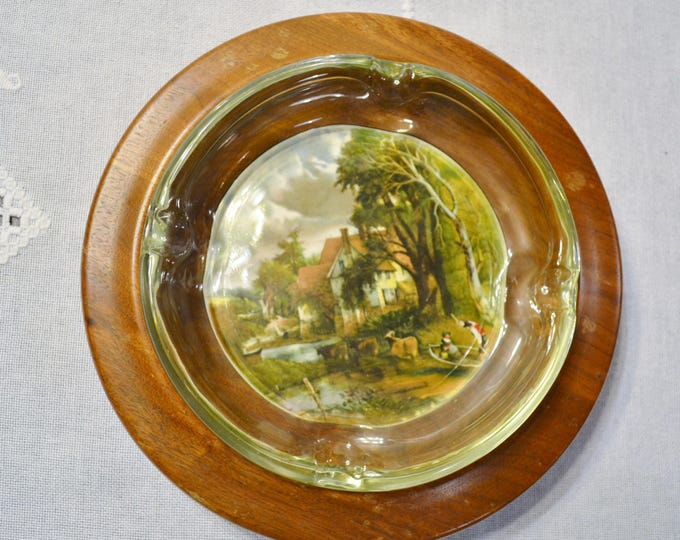 Vintage Ashtray Wood Tile Insert Glass Ashtray English Countryside Scene Handmade North Carolina PanchosPorch