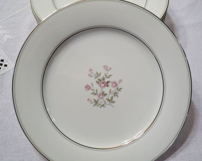 Vintage Noritake Stanton Dinner Plate Set of 8 Pink Roses Floral Platinum Gray Rim 5407 Japan Replacement PanchosPorch
