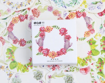 45 Piece Floral Wreath Sticker Set/Flowers/Planner Sticker/Journal/Craft Supplies/Scrapbooking/Card Making/Tags