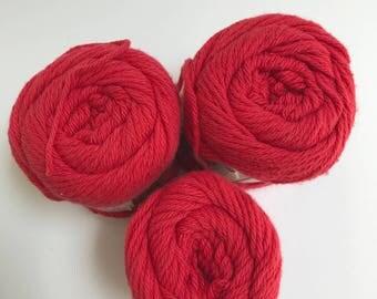 Lily Sugar 'n Cream Cotton Yarn in Red // 3 Skein Pack // Stash Sale