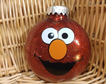 Red Elmo Glitter Christmas Ornament - Personalizable!
