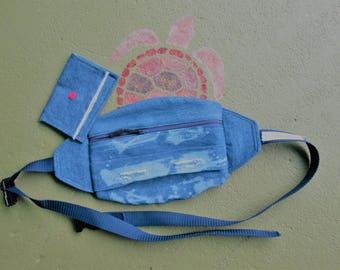 Denim Fanny Pack, Blue Denim, Frayed Denim, Distressed Denim fanny pack, Hip Bag