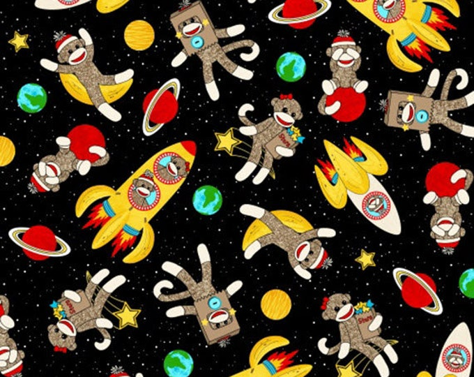 Sock Monkeys in Space - Rockets and Monkeys in Multi / Black - Adorable Cotton Quilt Fabric - by MY-KT for Windham Fabrics - 41169-X (W4138)