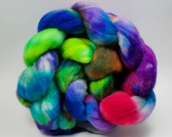 Spinning Fibre - Superwash BFL - 100g, 3.5 oz - Wool Top - Multicolour Roving - Blue Faced Leicester
