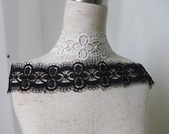 2 Color, Off white Victorian Lace Trim, Black Gothic Venice Necklace Lace, Venice Lace Trim 2 Yards
