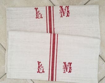 Monogrammed 'LM' Natural Limestone Vintage Linen Grainsack