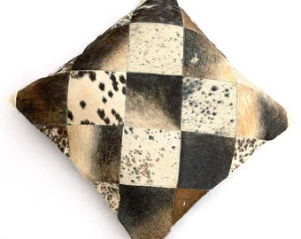 Natural Cowhide Luxurious Patchwork Hairon Cushion/pillow Cover (15''x 15'')a158
