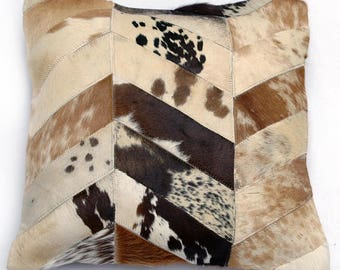 Natural Cowhide Luxurious Patchwork Hairon Cushion/pillow Cover (15''x 15'')a261