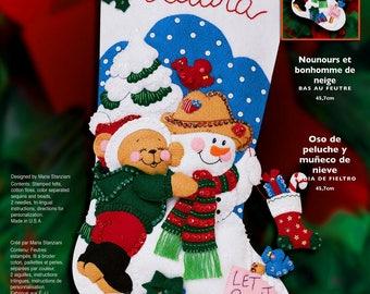 """Teddy Bear & Snowman 18"""" Bucilla Felt Christmas Stocking Kit #84774"""